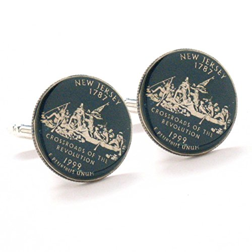 New Jersey Cufflinks Suit Flag State Coin Jewelry USA Uni...