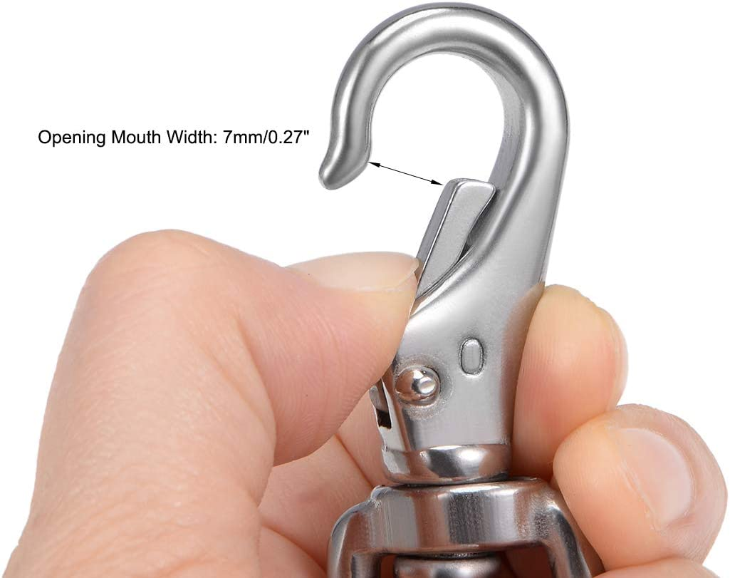 uxcell Fixed Eye Hook,304 Stainless Steel 0# Carabiner Lock Boat Clip Hook 68mm Length Silver Tone