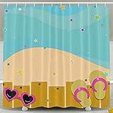 BINGO FLAG Funny Fabric Shower Curtain Pool Flip Flops Waterproof Bathroom Decor With Hooks 60 X 72 Inch