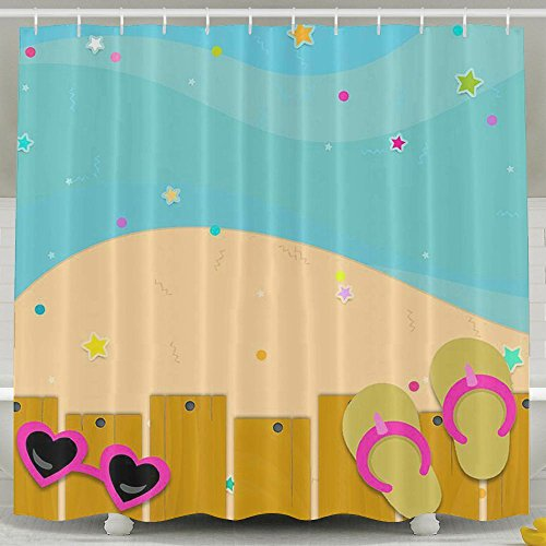 BINGO FLAG Funny Fabric Shower Curtain Pool Flip Flops Waterproof Bathroom Decor With Hooks 60 X 72 Inch by BINGO FLAG
