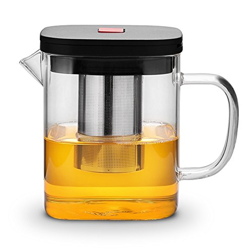 TAMUME 1100ml Square Design Boroscilicate Glass Teapot with Stainless Steel Teapot Infuser with Lift Up Handle, Press Red Button to Auto-Open the Lid - Steel Stainless Teapot Square
