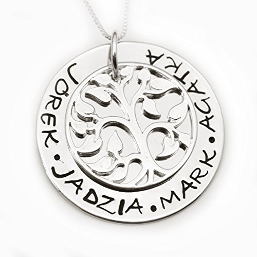 Personalized Sterling Silver Tree of Life Necklace - Grandmother Family Name Necklace, Tree Jewerly