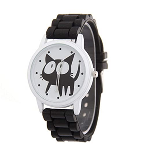 Reloj de Cuarzo Big Eye Cat Causale Simple Fashion para Mujer con pedrería Regalo Conjunto Cristal accentué cerámica en Metal Negro: Amazon.es: Relojes