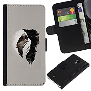 NEECELL GIFT forCITY // Billetera de cuero Caso Cubierta de protección Carcasa / Leather Wallet Case for Samsung Galaxy S4 Mini i9190 // Mujer & Wolf