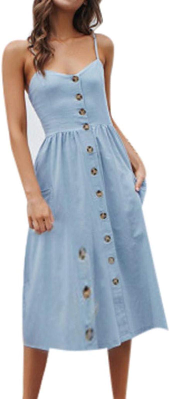 Shenye Damen Midi Kleid,Mode Elegant Einfarbig V-Ausschnitt