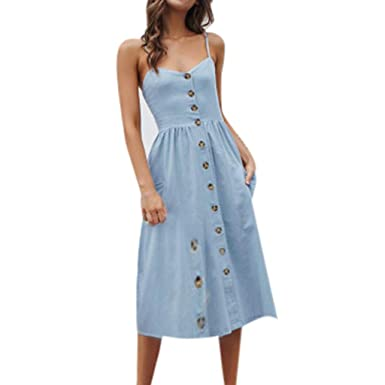 f4e968b9508 DOLDOA Womens Sleeveless Dress Sale丨2019 Summer Casual Boho Spaghetti Strap  Button Down Midi Dress with Pockets丨Loose Dresses for Women  Amazon.co.uk   ...