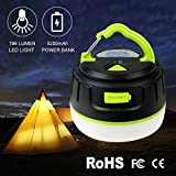 LED Camping Lantern - Mini LED Camping Lantern, 2-in-1 Hompie 10W Rechargeable 5200mAh Power Bank Tent Light, 196 Lumens Ultra Bright Flashlight with Magnetic Base, IP65 Waterproof & Fireproof for Camping Emergency Outdoor