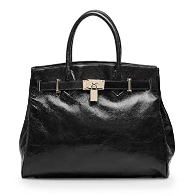 Vicenzo Leather Shelby Distressed Leather Handbag Bag Purse (Black)