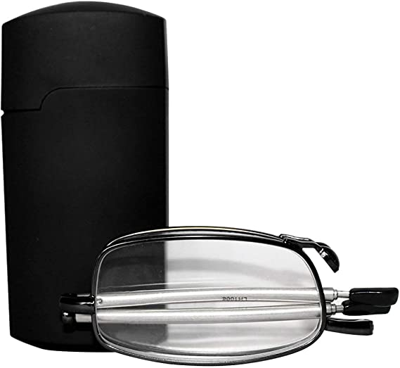 Imagen deuu19ee Gafas de Lectura Plegables Hombres Mujeres Mini diseño Gafas pequeñas Marco Gafas de Metal Negro con Caja Original