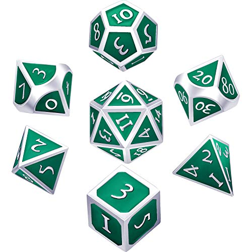 Hestya 7 Pieces Metal Dices Set DND Game Polyhedral Solid Metal D&D Dice Set with Storage Bag and Zinc Alloy with Enamel for Role Playing Game Dungeons and Dragons (Pearl Silver Green)