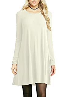 aa149e1afd SETENOW Women s Long Sleeve T-Shirt Dress V-Neck Round Neck Casual Loose  Tunic