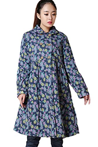 Mordenmiss Women's Winter Cotton Coat Warm Overcoat Clothing (Size, Style 2-Blue-S) by Mordenmiss