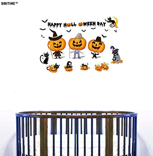 BIBITIME Wall Decals Happy Halloween Funny Smiling Pumpkins Flying Bats Moon Cute Black Cats Vinyl Stickers for Living Room Porch Front Door Shop Store Window Sticker Nursery Children Kids Room Decor ()
