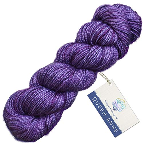 Living Dreams Queen Anne LACE Yarn. Luxuriously Soft Baby Alpaca Silk USA Hand Dyed. Blueberry