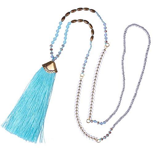 KELITCH Syuthetic Turquoise Crystal Beaded Necklace Tassel Layering Pendant Necklace New Jewelry (Blue - Pendant Sport Turquoise