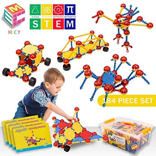 STEM Learning Toys | Creative Construction Engineering | Original 184 Piece Educational Building Blocks Set for Boys and Girls Ages 5 6 7 8 9 10 Year Old | Creative Game Kit | Best Toy Gift for Kids