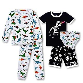 Boys Pajamas Underwear 5 Pieces Set Dinosaur Toddler Briefs Long Sleeve Sleepwear Shorts 100% Cotton PJ for Toddler 5T