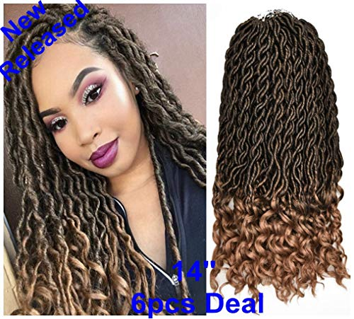 FQNing 14inch 6packs Goddess Locs Crochet Hair Light Weight Soft Wavy Curly Ombre Faux Locs Synthetic Brading hair extensions -