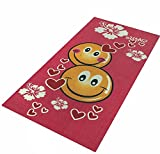 6 Piece Red Emoji Theme Beach Towel Set, White Pink Cute Smile Heart Floral Pattern Nautical Coastal Ocean Flowers Movie Characters Sleek Trendy Pool Side, Cotton