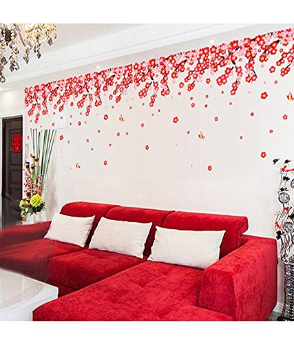Buy Decals Design U0027Flowers Pink And Red Romantic Cherryu0027 Wall Sticker (PVC  Vinyl, 50 Cm X 70 Cm), Multicolour Online At Low Prices In India   Amazon.in