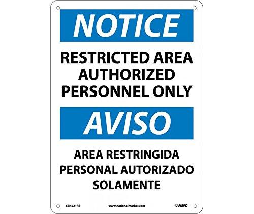 ESN221RB - Rigid Plasitc - Authorized Personel OSHA Signs, Bilingual, NMC - Each