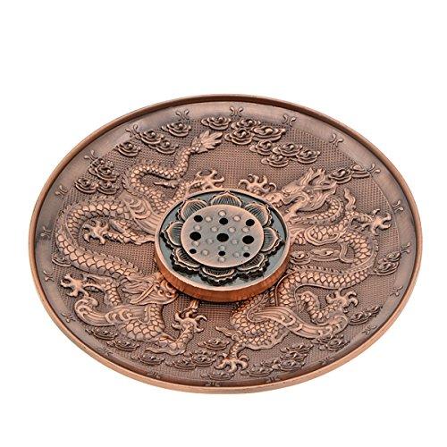 Saim Dragon Pattern Red Copper Censer Plate Cone Coil Stick Burner Holder, Ash Catcher Oriental Classical Style