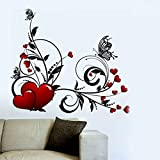 Decals Design 'Hearts with Floral' Wall Sticker (PVC Vinyl, 70 cm x 50 cm)