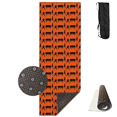 Non Slip Table Tennis 052012 D 1c Design Yoga Mat Great For Exercise Pilates Gymnastics With Carrying Strap by NSDK