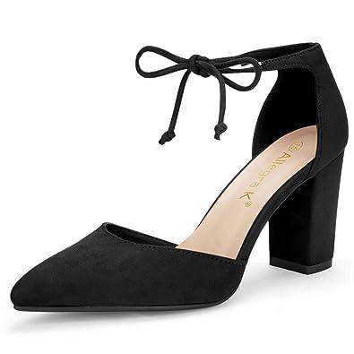 18d5cd5cd9d55 Allegra K Women's Ankle Tie Chunky Heel Pointed Toe Dress Black Pumps - 6  ...