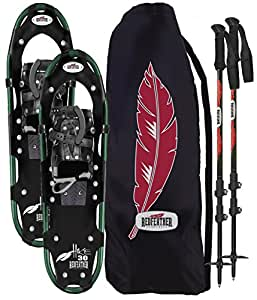RedFeather Women's HIKE 22 Inch Recreational Series Snowshoe Kit with SV2 Bindings, Ski Poles and Carry Bag - 157410KIT