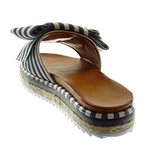 3 Sandals Blue Mules Line Flat Women's Fashion 5 on Angkorly Shoes Slip Heel cm Knot Platform Node Bicolour Twt6IWq