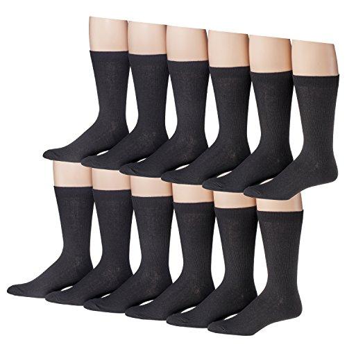 Men's 12 Pair Black Soft Cotton Blend Size 8-12 Dress Socks (Thin Rib) 1100-12 (Sock Classic Dress Rib)