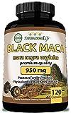 Organic Black Maca 950 mg per Capsule Natural Energy Booster Peruvian Maca