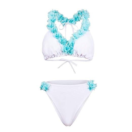 dc6722cff3f94 Amazon.com: Quelife Womens Petal Bandage Deep V Neck Bikini Push Up Halter  Thong Swimsuit Beachwear Set(White,L): Clothing