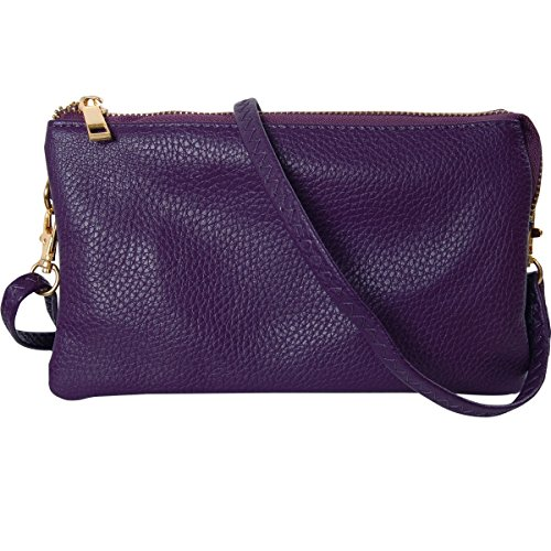 (Humble Chic Vegan Leather Small Crossbody Bag or Wristlet Clutch Purse, Includes Adjustable Shoulder and Wrist Straps, Purple, Plum)