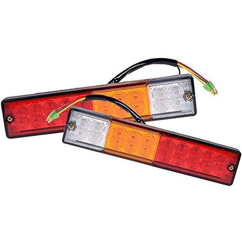 Price comparison product image FICBOX 2 Pack 20 LED Trailer Truck RV Tail Light, DC12V 3W Turn Signal Reverse Lamp Red-Yellow-White