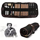 KOBWA Professional 100% Log Anti-breaking Pen Charcoal Sketch Set Portable Multifunction 18 Pieces Pencil Sketch Suit Hot Essential Painting Tool Best Gifts for Drawing Lover Beginner Suitable Art Supply
