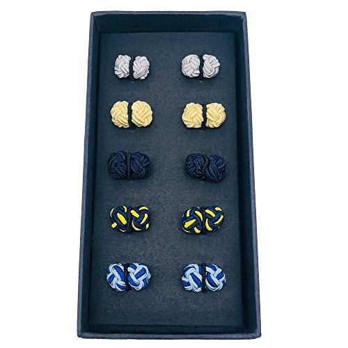 VIILOCK Silk Knot Cufflinks Chinese Knot Cuff-Links,Gift Set 5 Pairs (Blue)