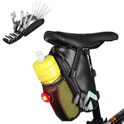 iGoods Bicycle Bike Seat Bag With LED Taillight&Water Bottle Holder&Repair Tool for Mountain Road MTB Cycling Riding, Bike Tail Bag Pouch Pack, Under Seat Bike Tool Storage Rear Bag Gear