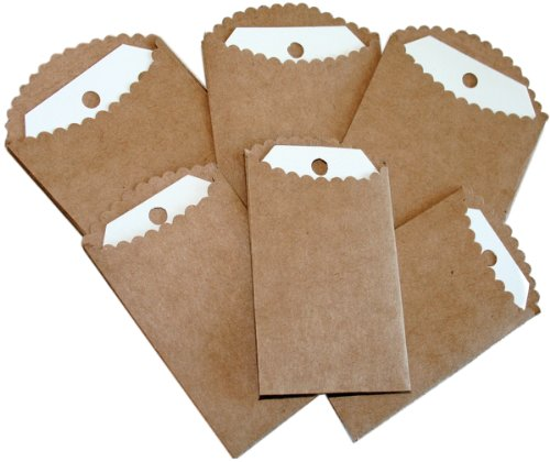 Melissa Frances 6-Pack Vintage Attic Treasures Paper Bags with Tags, Mini