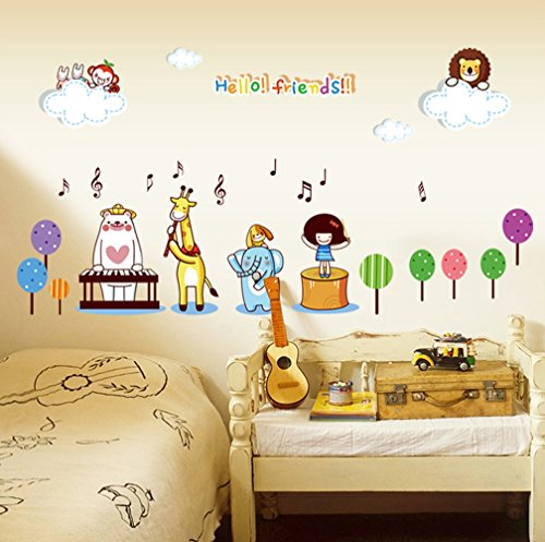 Animal Concert Wall Sticker Kids Girls Bedroom Nursery Cartoon Decal 50x70cm Concert Decal