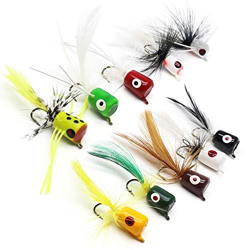 (YZD Bass Popper Fly Dry Fly Fishing Flies Kit Panfish Bass Fishing Popper Topwater Bait (Popper Kit 02))