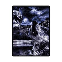 """Wolf Under The Moon Light Blanket Sumptuously Soft Plush Warm Winter Blankets Throw Bedspread 58"""" x 80"""" (Large)"""