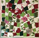 Mosaic Tile Art Supply for Mosaics & Crafts ~ Spring Red Roses & Green Leaves Tiles (T#515)
