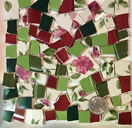 Mosaic Tile Art Supply for Mosaics & Crafts ~ Spring Red Roses & Green Leaves Tiles (T#515) by J Pepper's Art By Hand