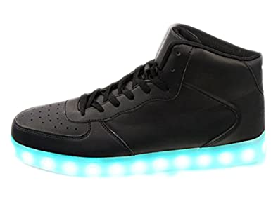 c7a788c0efec6 High Top Light up Flashing Glow in The Dark Women's Men's USB Charging  Multi Color LED Flashing Sneakers