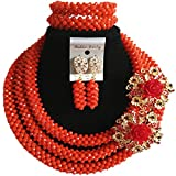 laanc 98% Multicolor Crystal Womens Jewelry Sets,Party,Gift,Multi Use - African Beads Nigerian Engagement (Dark Red Opaque)
