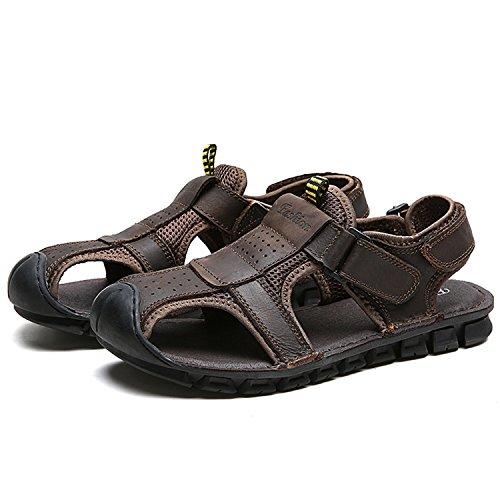 Miyoopark , Sandales Compensées homme - marron - marron foncé,