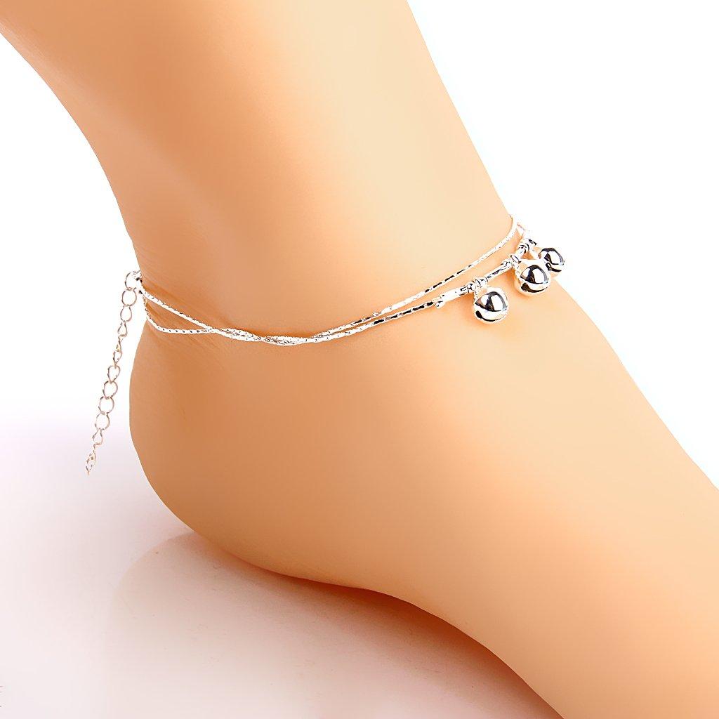 Non-brand Tobillera Pulsera Cadena Tobillo Doble Campana Playa Danza Plata Anklet Chain