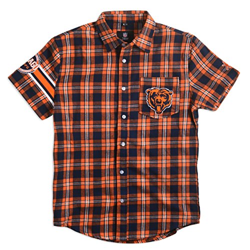 Chicago Bears Wordmark Basic Flannel Shirt - Short Sleeve Extra Large